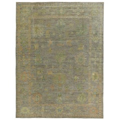 Nazmiyal Collection Earth Tone Modern Turkish Oushak Rug 10 ft 5 in x 14 ft