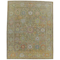 Nazmiyal Collection Floral Green Modern Turkish Oushak Rug 10 ft 8 in x 13 ft 5