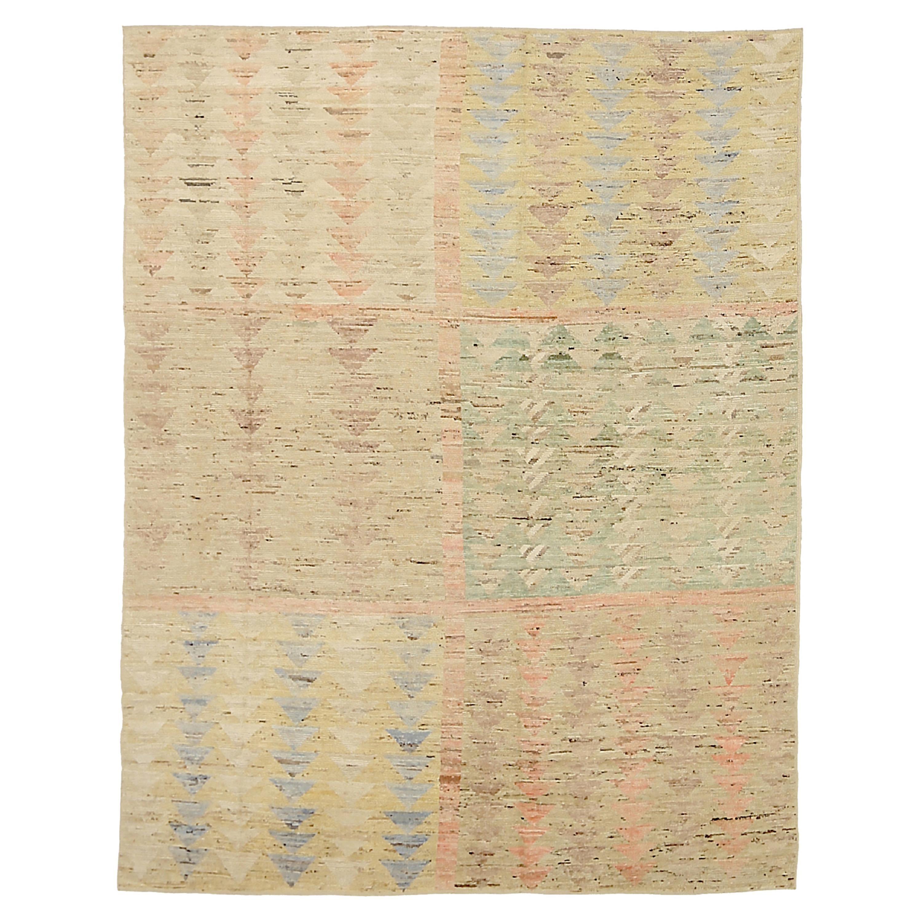 Nazmiyal Collection Geometric Modern Distressed Area Rug. 7 ft 6 in x 9 ft 7 in