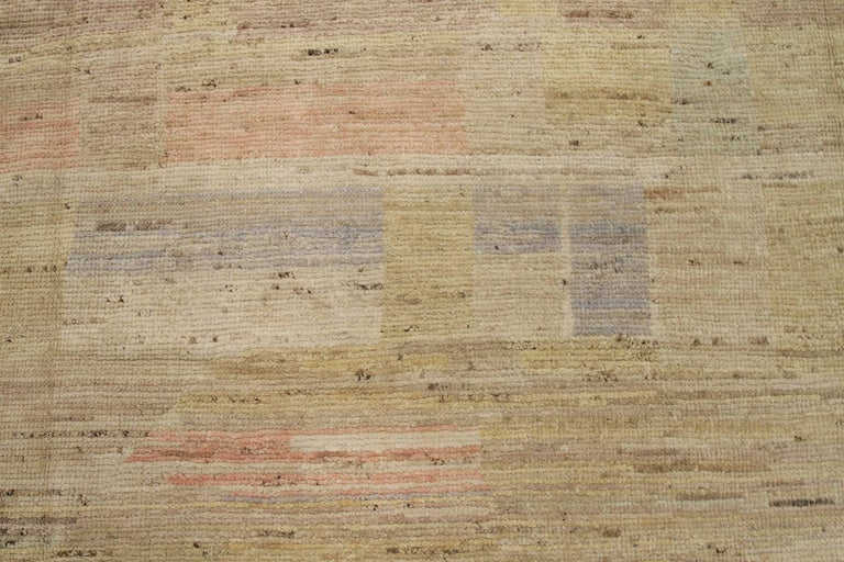 Hand-Knotted Nazmiyal Collection Geometric Modern Distressed Rug. 9 ft 3 in x 11 ft 9 in  For Sale