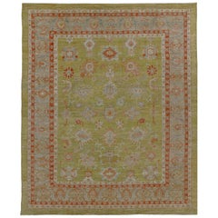 Nazmiyal Collection Green Modern Turkish Oushak Area Rug 11 ft 5 in x 14 ft