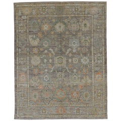 Nazmiyal Collection Green Modern Turkish Oushak Rug 10 ft 7 in x 13 ft 5 in