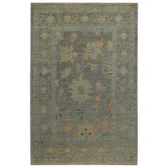 Nazmiyal Collection Grey Background Modern Turkish Oushak Rug 6 ft 2 in x 9 ft 8