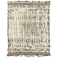 Nazmiyal Collection Ivory And Blue Modern Distressed Rug 4 ft 10 in x 6 ft 2 in