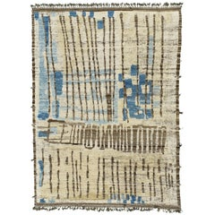 Nazmiyal Collection  Ivory Blue Modern Distressed Rug 8 ft 9 in x 12 ft