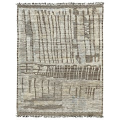 Nazmiyal Collection Ivory Gray Modern Distressed Rug.  8 ft 10 in x 11 ft 11 in