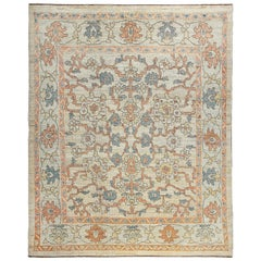 Nazmiyal Collection Ivory Modern Turkish Oushak Rug 7 ft 10 in x 9 ft 8 in