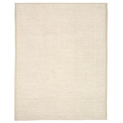 Nazmiyal Collection Ivory Textured Modern Distressed Rug. 11 ft 10 in x 15 ft