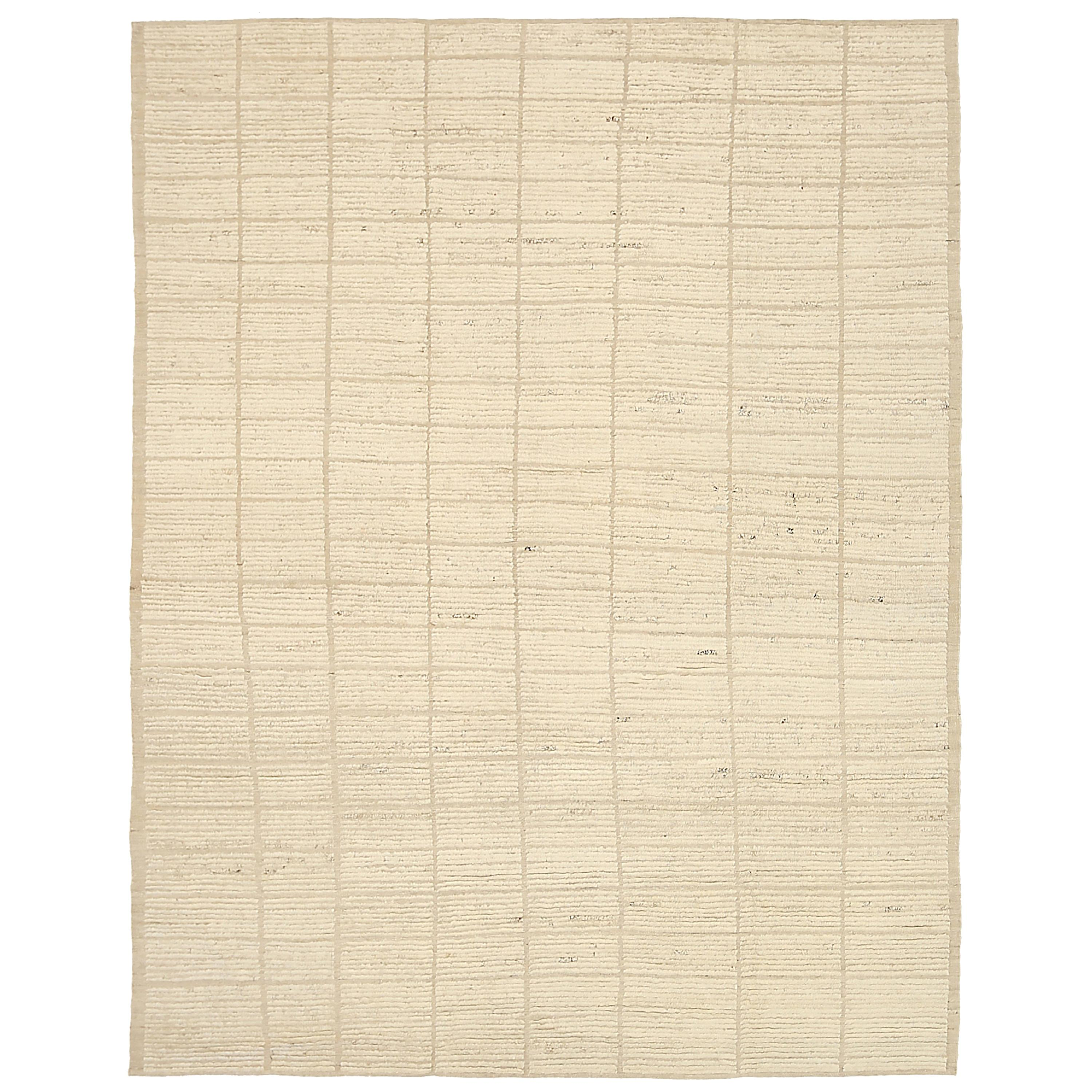 Nazmiyal Collection Ivory Textured Modern Distressed Rug 9 ft 2 in x 11 ft 10 in