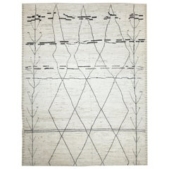 Nazmiyal Collection Ivory Tribal Modern Moroccan Style Rug 9 ft 4 in x 12 ft