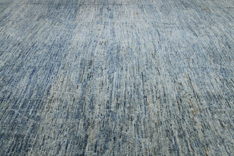 Hand-Knotted Nazmiyal Collection Large Blue Modern Moroccan Style Rug 14 ft 4 in x 16 ft 4 in For Sale