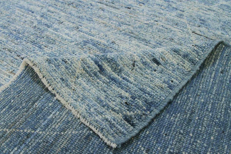 Nazmiyal Collection Large Blue Modern Moroccan Style Rug 14 ft 4 in x 16 ft 4 in In New Condition For Sale In New York, NY