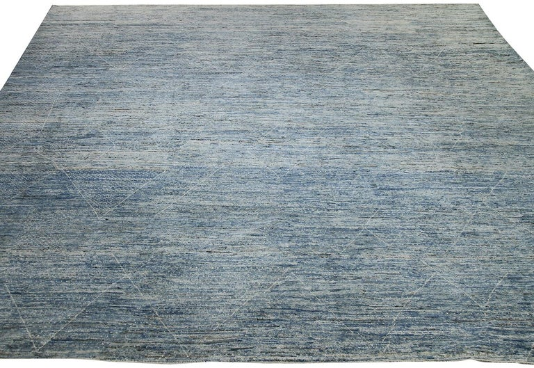 Contemporary Nazmiyal Collection Large Blue Modern Moroccan Style Rug 14 ft 4 in x 16 ft 4 in For Sale