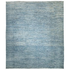 Nazmiyal Collection Large Blue Modern Moroccan Style Rug 14 ft 4 in x 16 ft 4 in