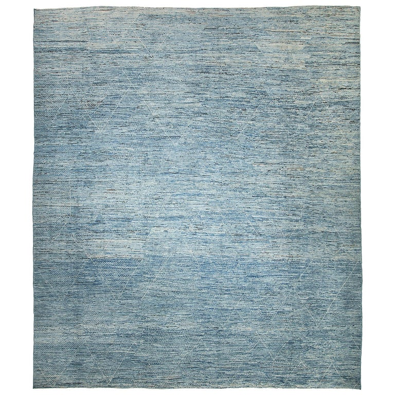 Nazmiyal Collection Large Blue Modern Moroccan Style Rug 14 ft 4 in x 16 ft 4 in For Sale