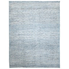 Nazmiyal Collection Light Blue Modern Moroccan Style Rug 8 ft 8 in x 11 ft 6 in