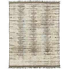 Nazmiyal Collection Light Gray Modern Distressed Rug 8 ft 10 in x 11 ft 10 in