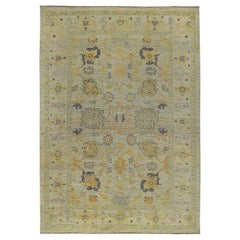 Nazmiyal Collection Light Green Modern Turkish Oushak Carpet 6 ft 9in x 9 ft 7in