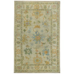 Nazmiyal Collection Light Green Modern Turkish Oushak Rug 6 ft 1 in x 9 ft 7 in