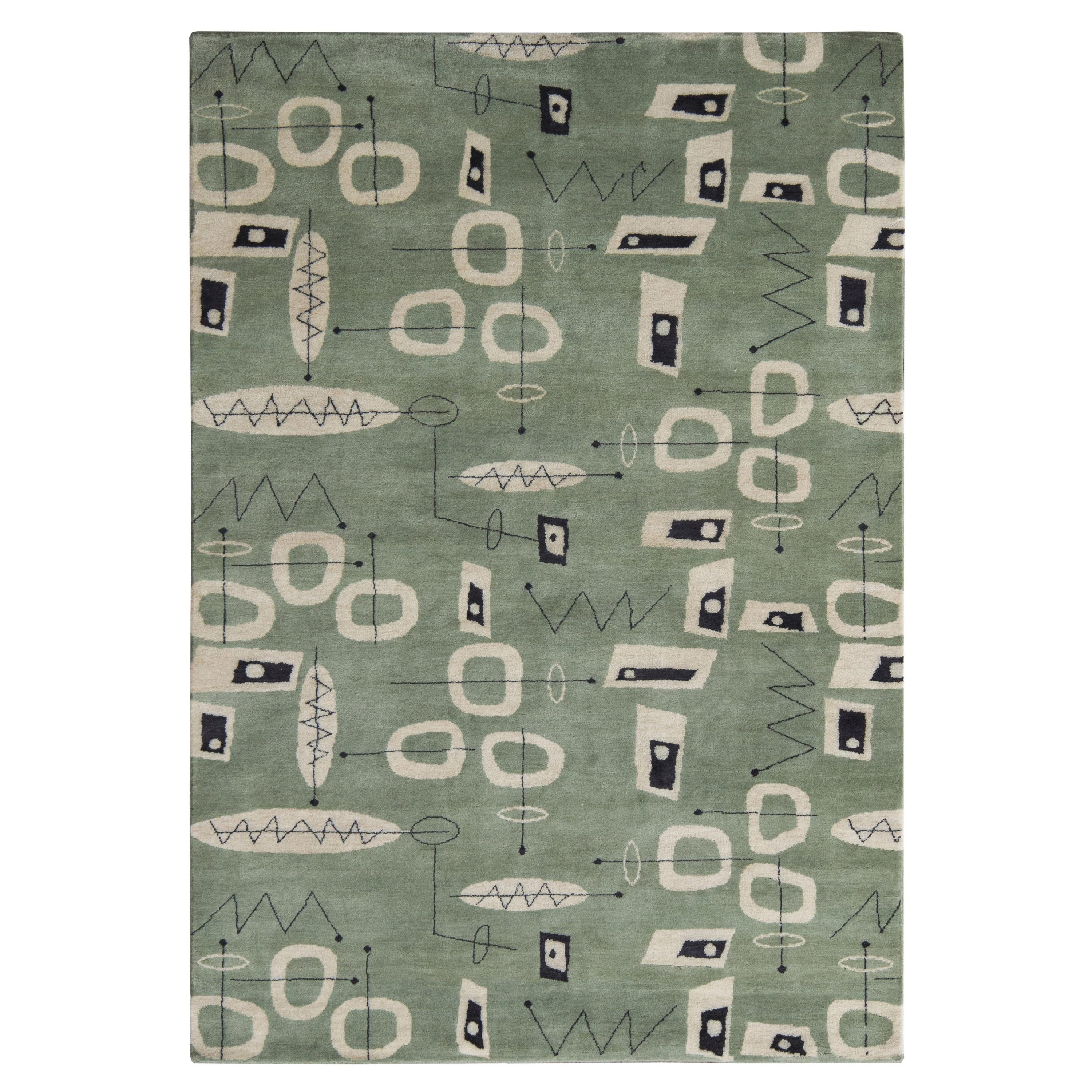 Nazmiyal Collection Mid Century Inspired Modern Area Rug 4 ft 2 in x 4 ft 3 in