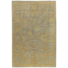 Nazmiyal Collection Modern Turkish Oushak Rug 6 ft 5 in x 9 ft 7 in