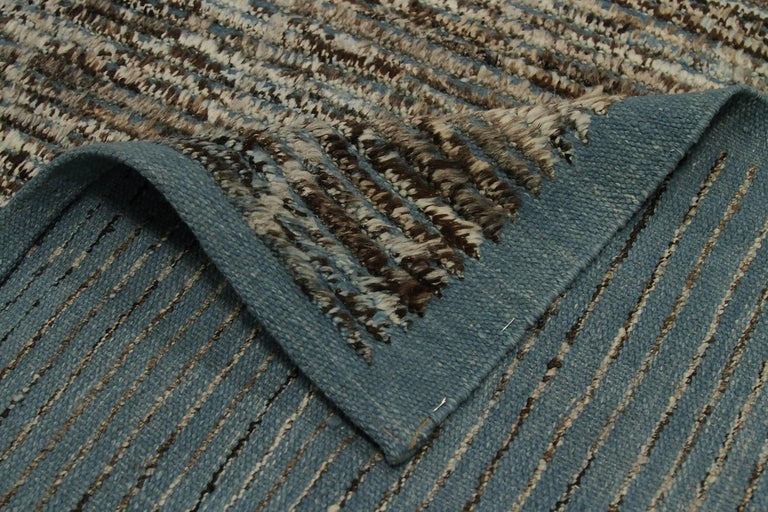 Beautiful Brown Navy Blue Textured Modern Distressed Rug, Country of Origin: Afghanistan,Circa date: Modern. Size: 6 ft 7 in x 10 ft (2.01 m x 3.05 m)