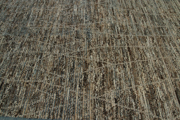 Afghan Nazmiyal Collection Navy Blue Textured Modern Distressed Rug. 6 ft 7 in x 10 ft For Sale