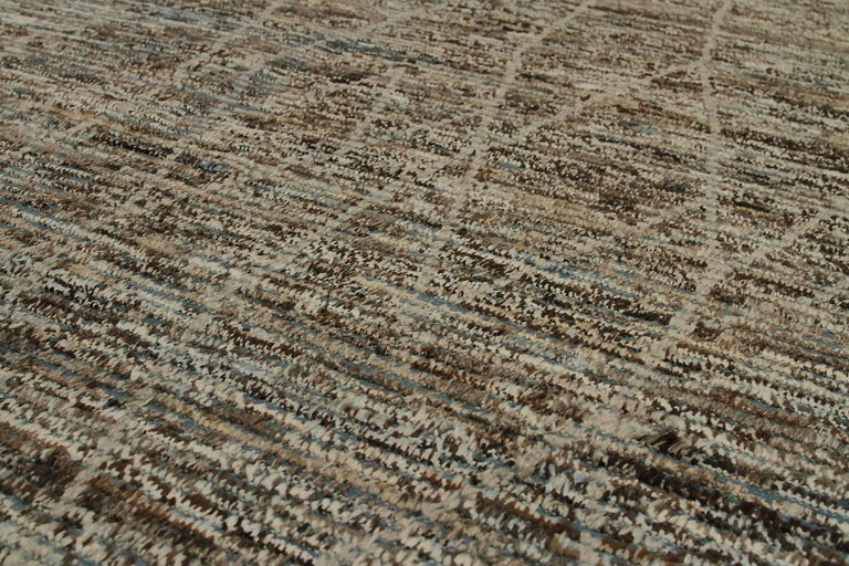 Hand-Knotted Nazmiyal Collection Navy Blue Textured Modern Distressed Rug. 6 ft 7 in x 10 ft For Sale