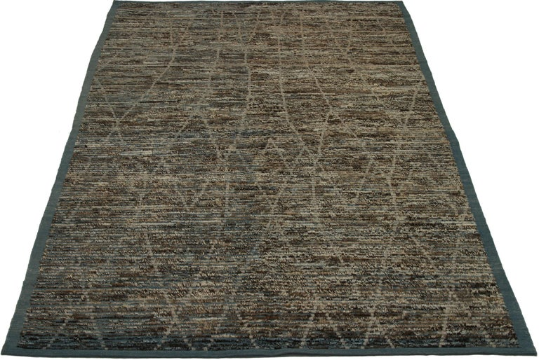 Contemporary Nazmiyal Collection Navy Blue Textured Modern Distressed Rug. 6 ft 7 in x 10 ft For Sale