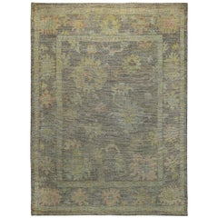 Nazmiyal Collection Small Size Modern Turkish Oushak Area Rug 6ft 3in x 8ft 5in