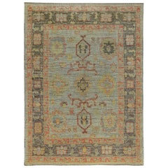 Nazmiyal Collection Small Size Modern Turkish Oushak Rug 4 ft 10 in x 6 ft 6 in
