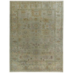 Nazmiyal Collection Soft Green Modern Turkish Oushak Rug 10 ft 3 in x 13 ft 6 in