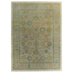 Nazmiyal Collection Soft Green Modern Turkish Oushak Rug 10 ft x 13 ft 6 in