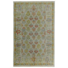 Nazmiyal Collection Soft Green Modern Turkish Oushak Rug 6 ft 3 in x 9 ft 8 in