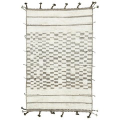 Nazmiyal Collection Soft Ivory Modern Boho Chic Rug 5 ft 10 in x 9 ft 2 in