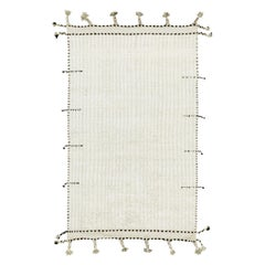 Nazmiyal Collection Solid Ivory Modern Boho Chic Rug 5 ft 10 in x 9 ft 10 in