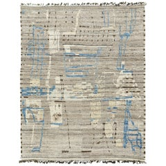Nazmiyal Collection Taupe And Blue Modern Distressed Rug 10 ft 7 in x 13 ft 8 in