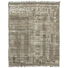 Nazmiyal Collection Taupe And Brown Modern Distressed Rug 9 ft 3 in x 11 ft 10in