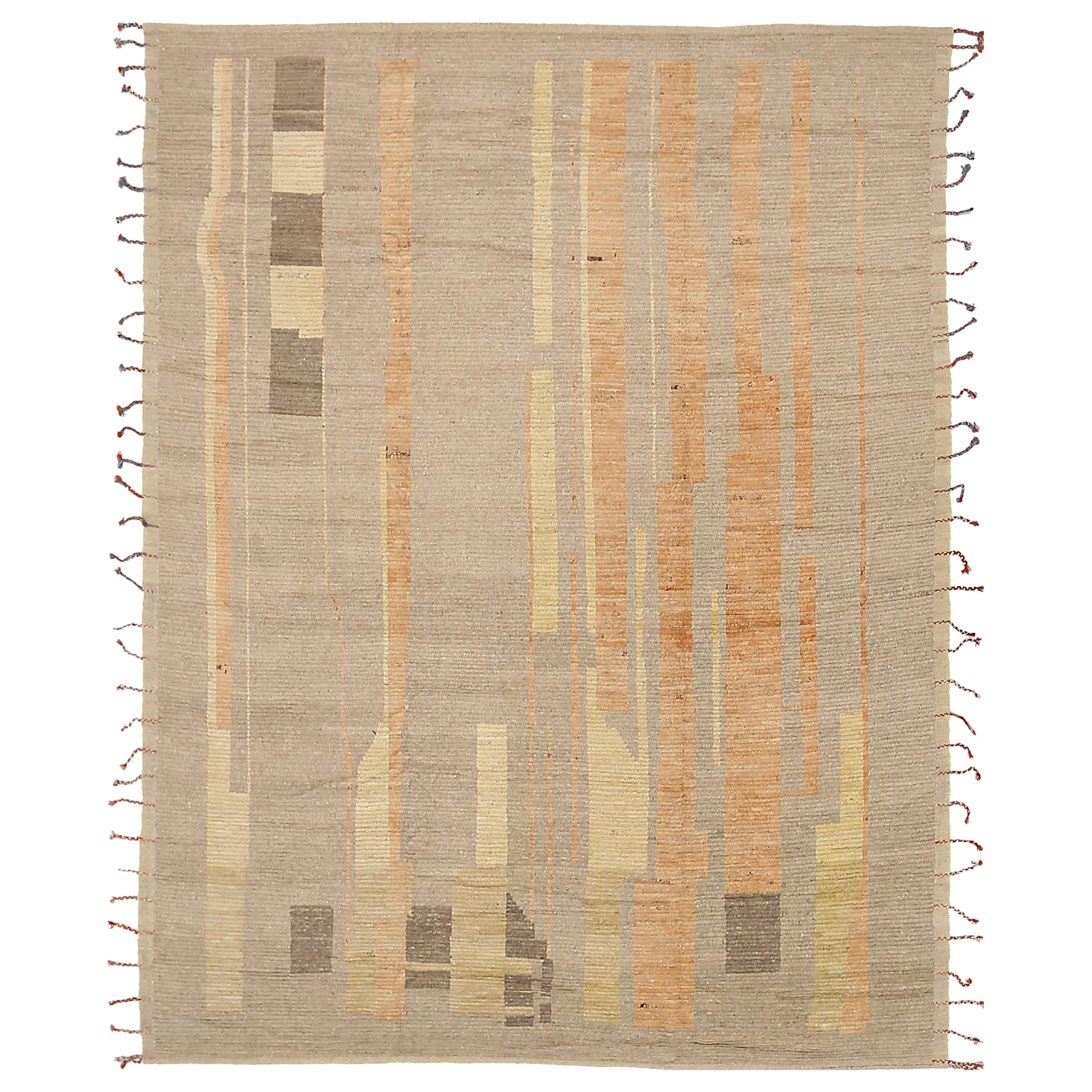 Nazmiyal Collection Taupe Modern Distressed Rug. 9 ft 4 in x 11 ft 9 in