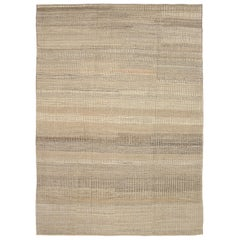 Nazmiyal Collection Taupe Textured Modern Distressed Rug. 9 ft 2 in x 12 ft 1 in