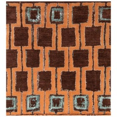 Nazmiyal Collection Terracotta Color Mid Century Modern Rug  5 ft 5 in x 6 ft