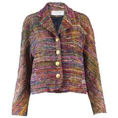 Nazy Cook Paris Vintage 1980's Silk & Lurex Woven Tweed Boucle Blazer Jacket