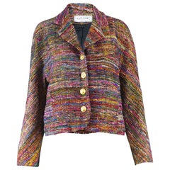Nazy Cook Paris Vintage 1980's Silk & Lurex Woven Tweed Boucle Blazer Jacket