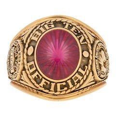 NCAA Big Ten Official Ring, 10 Karat Yellow Gold Synthetic Red Spinel Men's