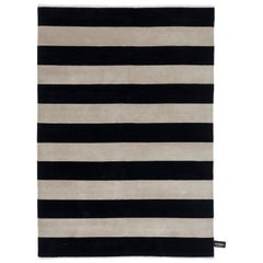 NCFC Black and White Stripes Rug by CC-Tapis