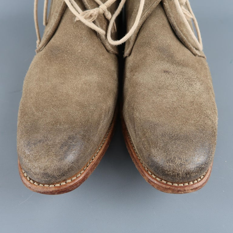 N.D.C. chukka ankle boots come in distressed beige suede with a rounded pointed toe, ace up front, and tan sole. Made in EU.   Very Good Pre-Owned Condition. Marked: IT 43   Measurements:   Length: 13 in. Width: 4 in. Height: 4 in.