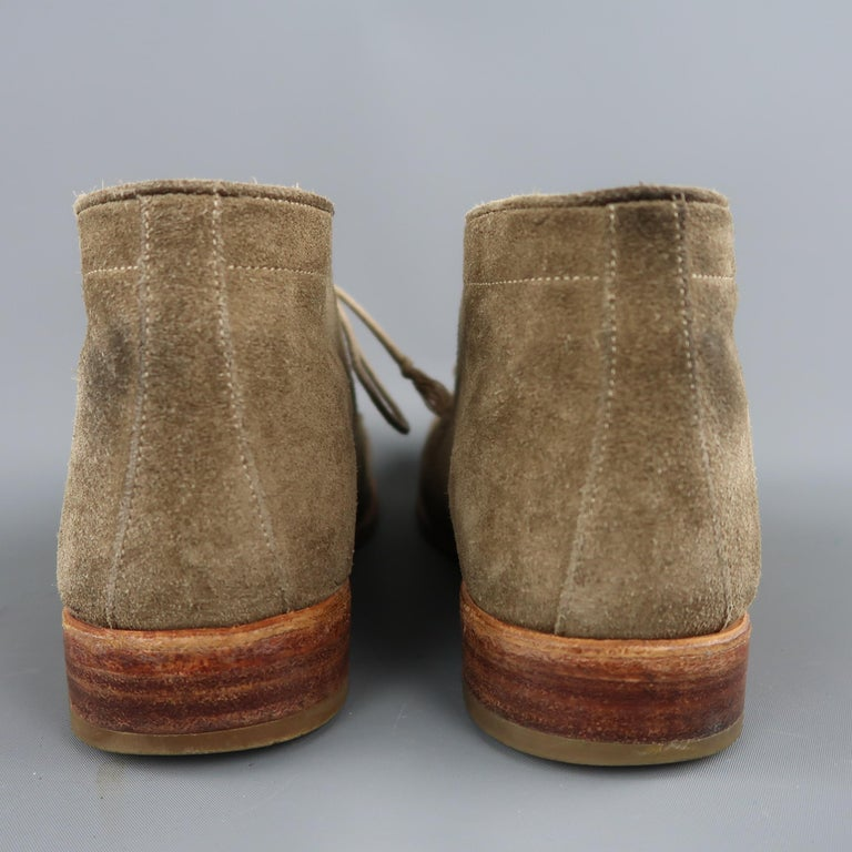 N.D.C. Size 10 Beige Distressed Suede Pointed Toe Chukka Ankle Boots For Sale 2