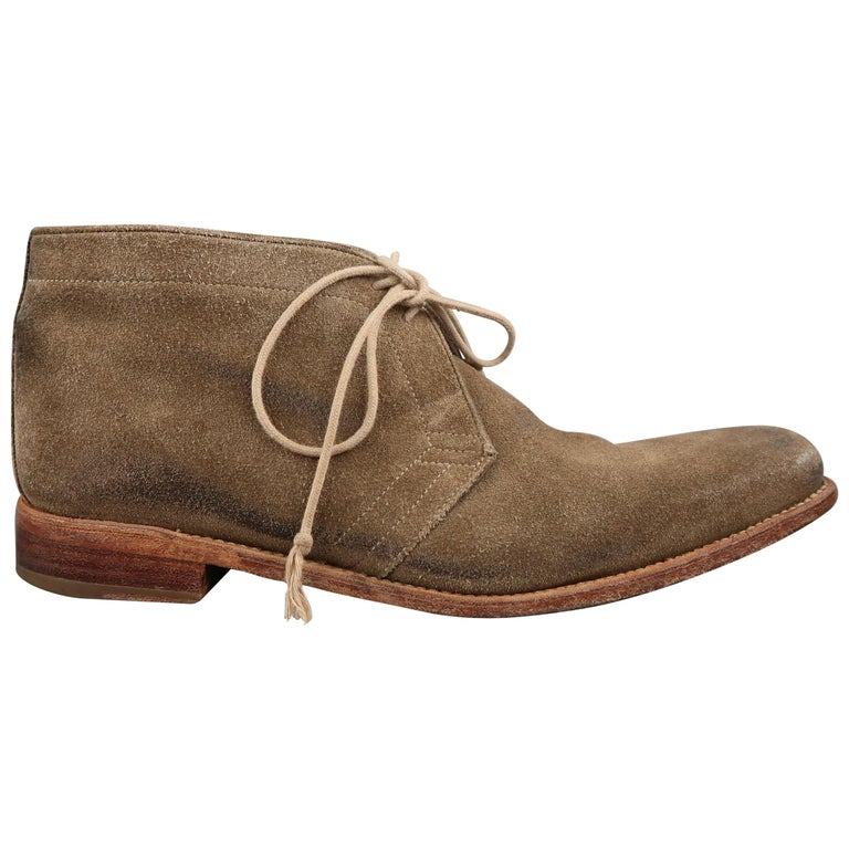 N.D.C. Size 10 Beige Distressed Suede Pointed Toe Chukka Ankle Boots For Sale