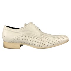 N.D.C. Size 10 White Perforated Patent Leather Pointed Toe Dress Shoes