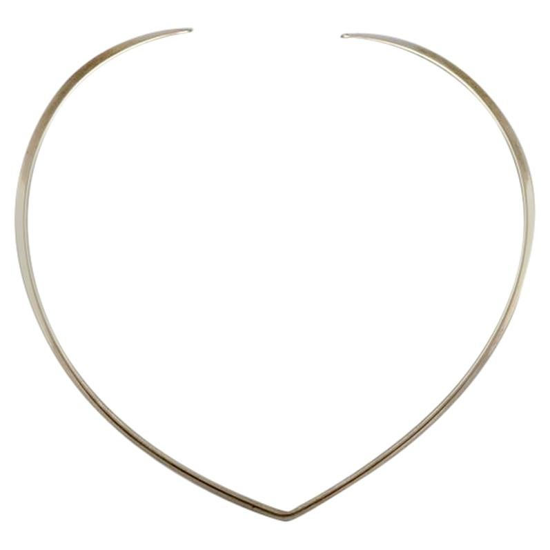N.E. From Sterling Silver Neck Ring, Danish Design, 1970s